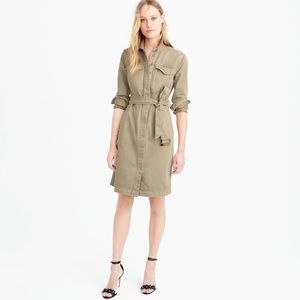 J Crew Belted Safari Chino Shirtdress Button Front